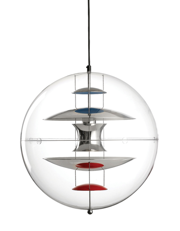 Luminaire - Suspensions - Suspension VP Globe Ø 40 cm - Panton 1969 - Verpan - Transparent / Chromé, orange & bleu - Acrylique, Aluminium