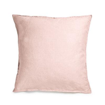 Taie d'oreiller 65 x 65 cm / Lin lavé - Au Printemps Paris rose en tissu