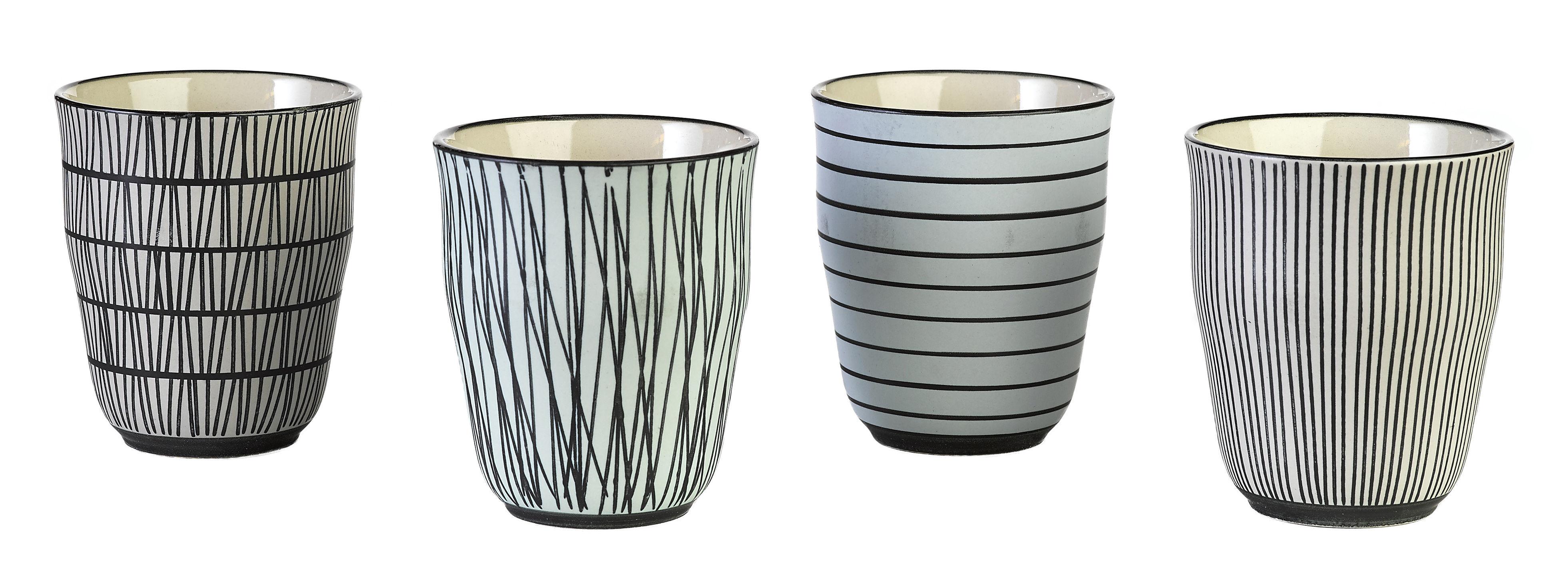 Tischkultur - Tassen und Becher - Pastel Afresh Tasse / 4er-Set- handbemalt - Pols Potten - Schwarz & weiß - emailliertes Porzellan
