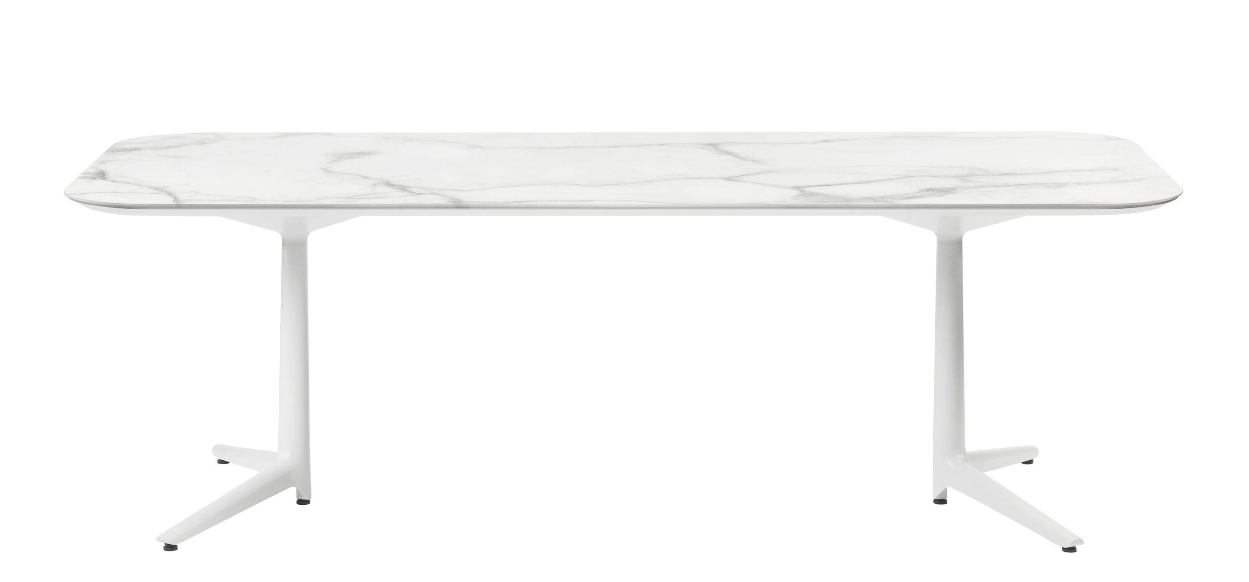 Outdoor - Tavoli  - Tavolo Multiplo Outdoor / Effetto marmo - 180 x 90 cm - Kartell - Effetto marmo bianco / Piede bianco - alluminio verniciato, Gres porcellanato effetto marmo