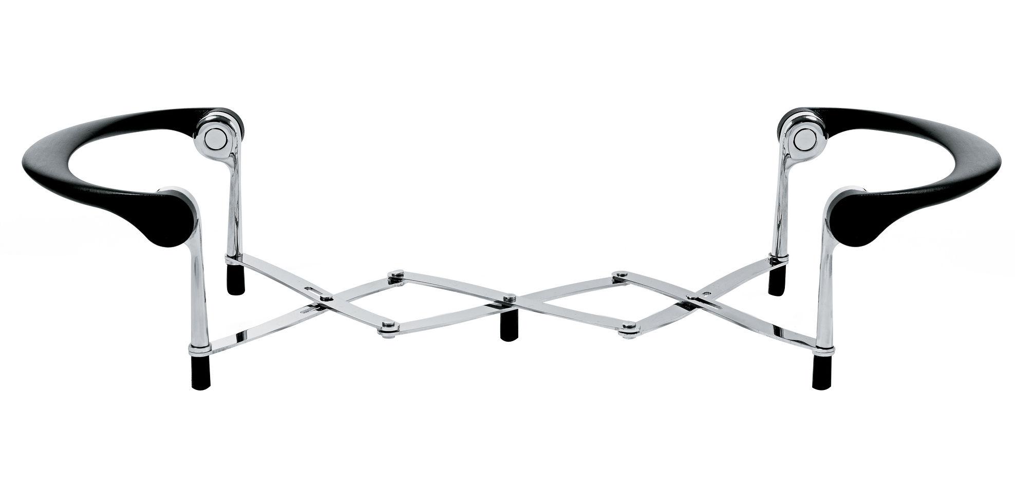 Tischkultur - Topfuntersetzer - Pipiro Topfuntersetzer Ausziehbarer Tisch-Untersetzer - Alessi - Stahl poliert glänzend / Schwarz - Polyamid, rostfreier Stahl