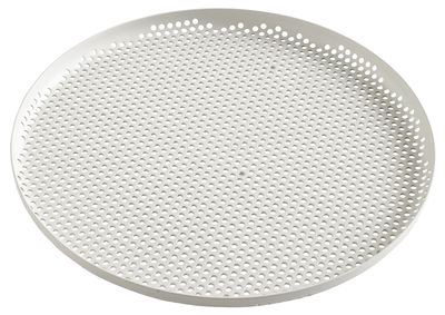 Tableware - Trays - perforated Tray - / Large - Ø 35 cm by Hay - Light grey - Perforated aluminium