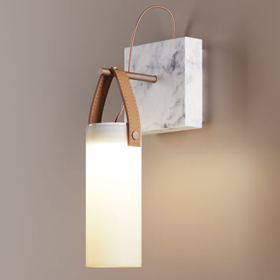 Lighting - Wall Lights - Galerie LED Wall light - / Marble & glass by Fontana Arte - Bronze & white - Blown glass, Brushed metal, Marble, Natural leather