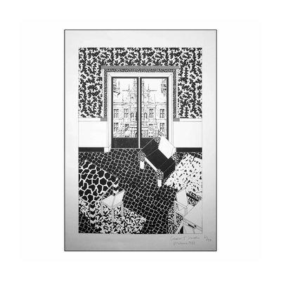 Déco - Stickers, papiers peints & posters - Affiche Drawing for Interior 1 / Sérigraphie by George J. Sowden, 1983 - Edition limitée, signée - Memphis Milano - Interior 1 - Papier