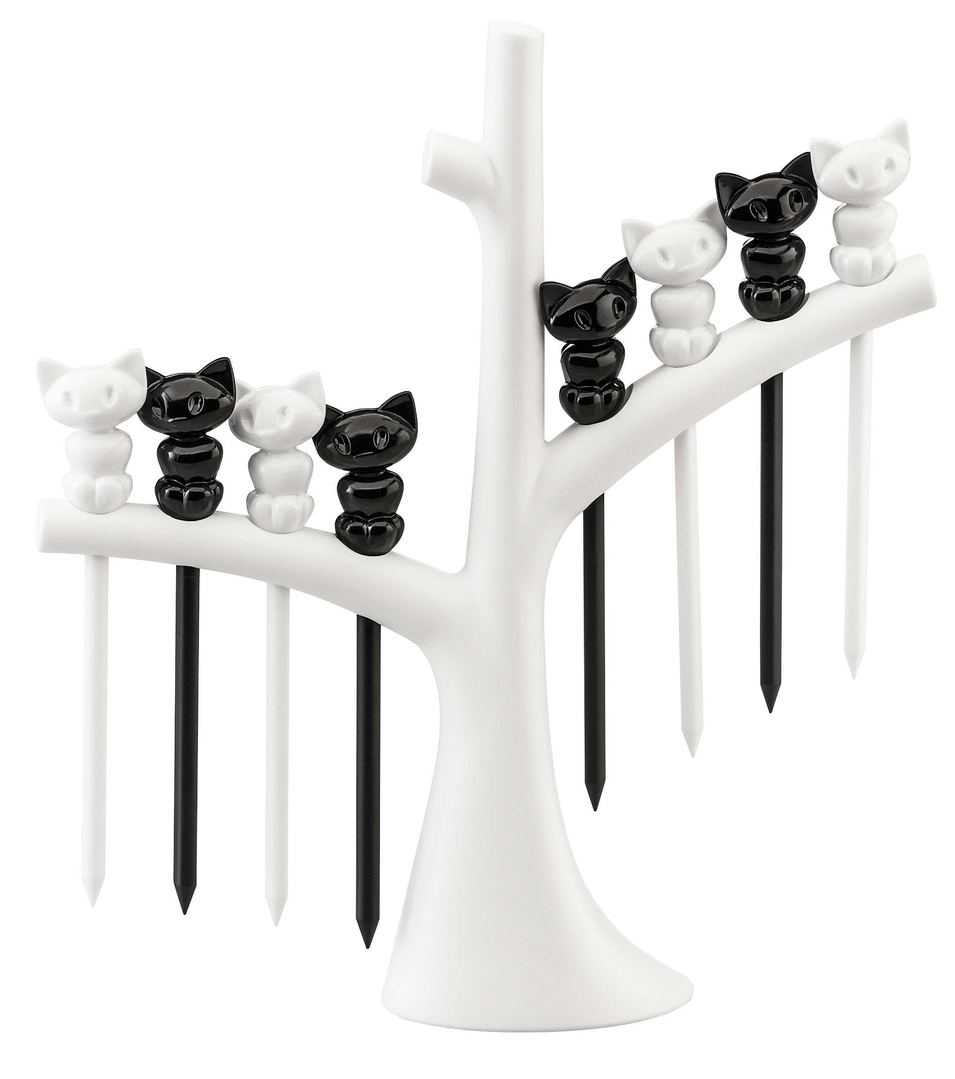 Tableware - Wine Accessories - Miaou Appetiser skewers - / Set of 8 with tree stand by Koziol - White tree / Black and white cats - Plastic