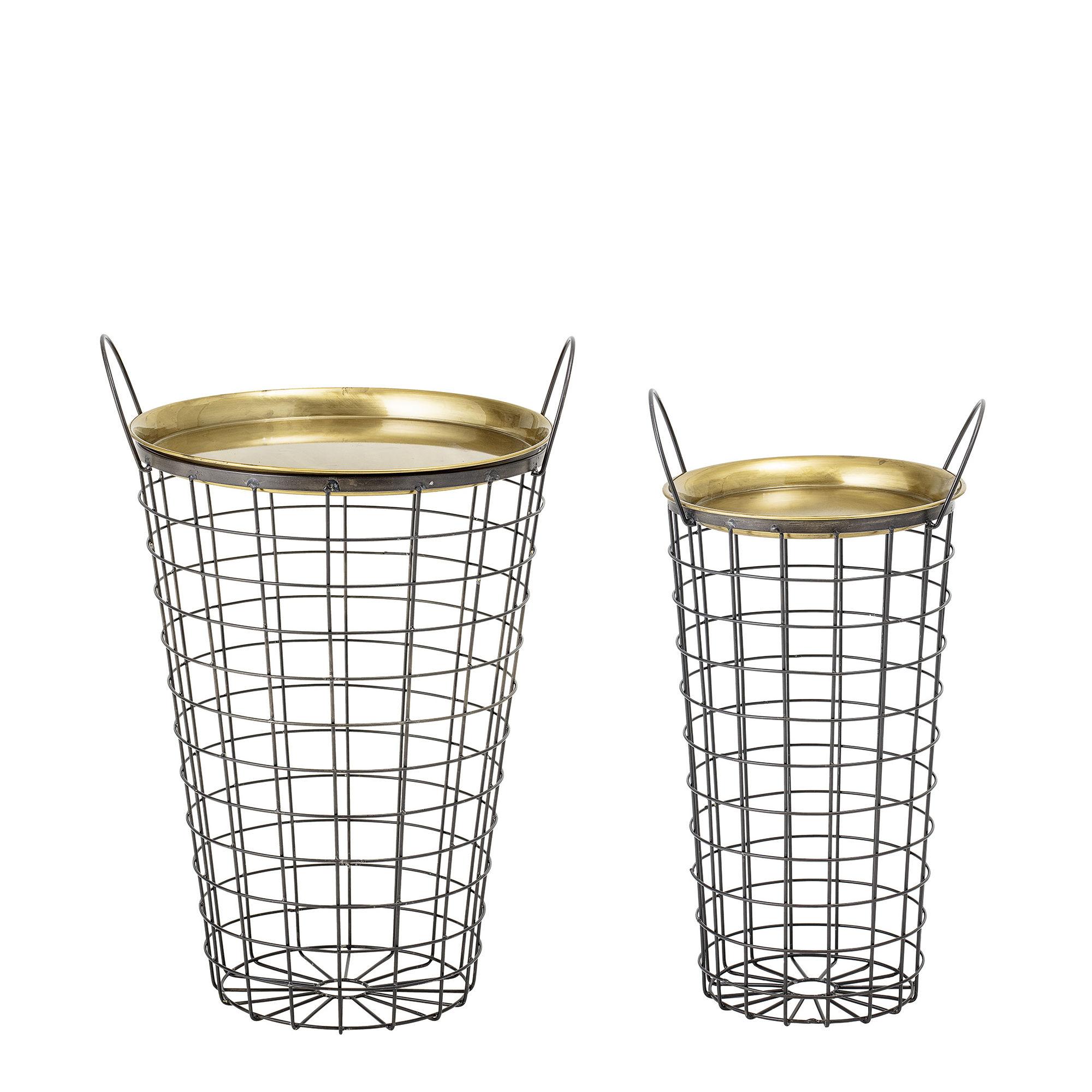 Möbel - Couchtische - Kaia Beistelltisch / Korb - 2er-Set - Ø 25 & 39 cm - Bloomingville - Schwarz & Gold - Metall