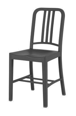 Furniture - Chairs - 111 Navy chair Chair - Recycled plastic by Emeco - Charcoal - Fibreglass, PET