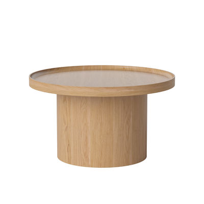 Furniture - Coffee Tables - Plateau Large Coffee table - / Ø 74 x H 42 cm - Removable top by Bolia - Oak - Moulded laminate, Solid oak