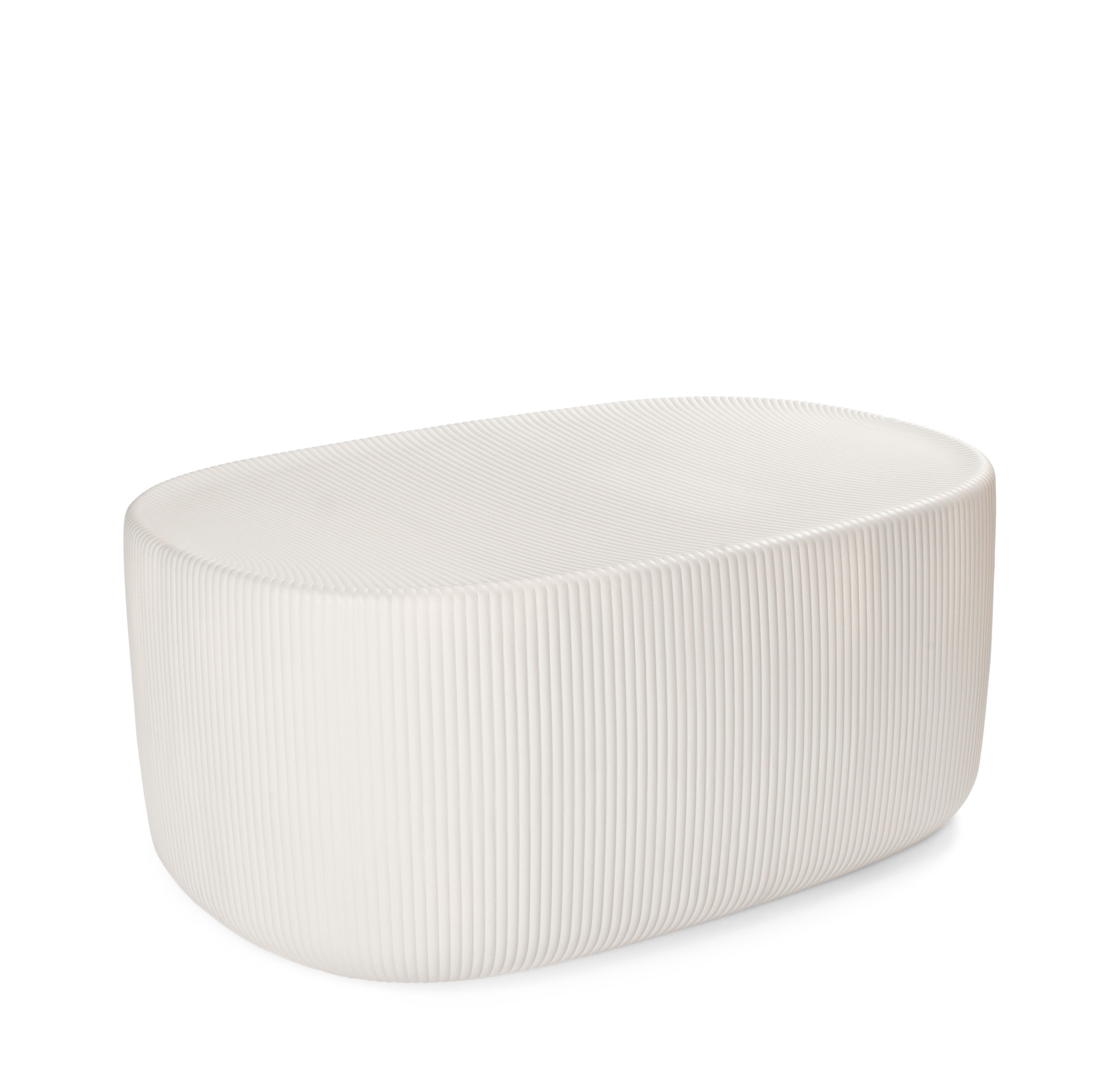 Furniture - Coffee Tables - Touch Large End table - / L 57 x H 26 cm - Ceramic by Moustache - Light grey - Glazed ceramic