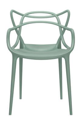 Mobilier - Chaises, fauteuils de salle à manger - Fauteuil empilable Masters / Plastique - Kartell - Vert sauge - Polypropylène