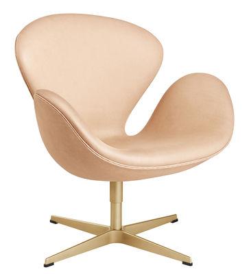 Mobilier - Fauteuils - Fauteuil pivotant Swan chair / Cuir & or - Edition limitée numérotée 60 ans - Fritz Hansen - Naturel / Or 23 carrats - Aluminium plaqué or, Cuir, Mousse, Résine
