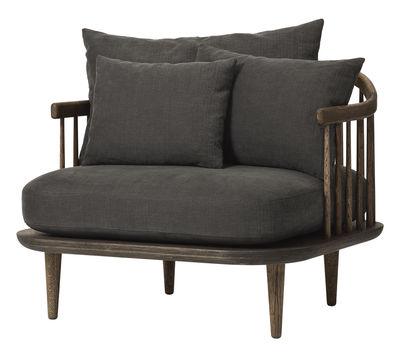 Möbel - Lounge Sessel - FLY Gepolsterter Sessel / L 87 cm - &tradition - Dunkles Holz / dunkelgraue Kissen - geölte Eiche, Gewebe, Schaumstoff
