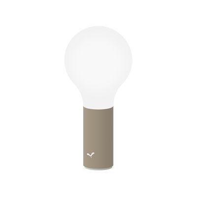 Illuminazione - Lampade da tavolo - Lampada senza fili Aplô LED di Fermob - Noce moscata - Alluminio, policarbonato