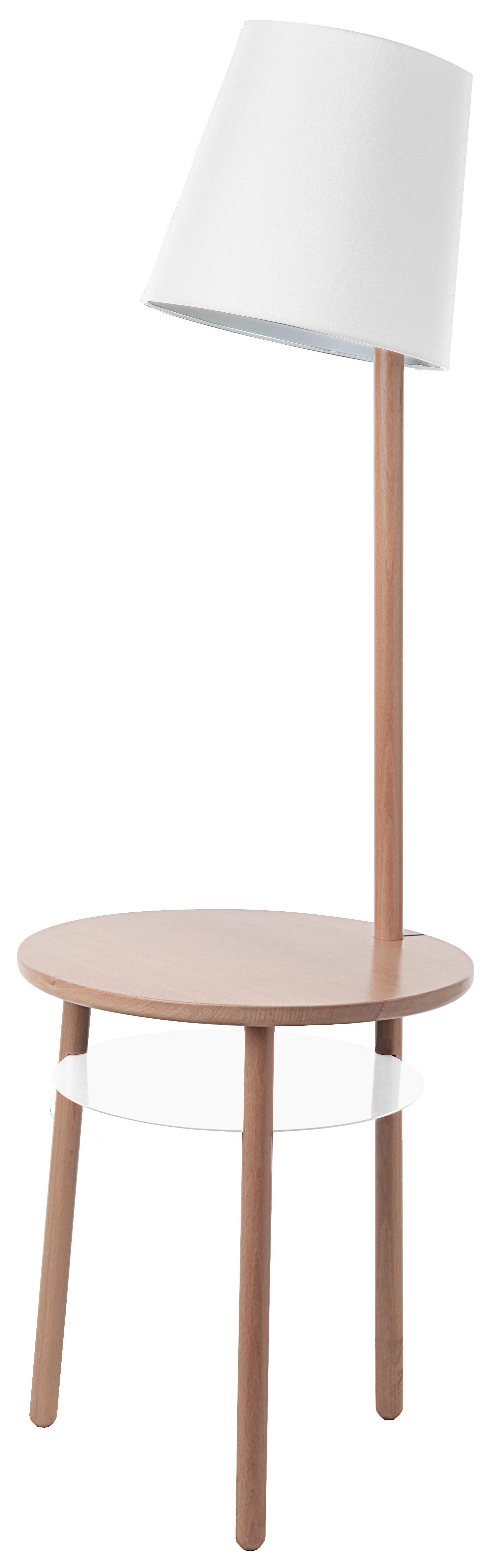 Mobilier - Tables basses - Lampadaire Josette / Table d'appoint - Ø 45 x H 52 cm - Hartô - Blanc - Coton, Hêtre massif, Métal laqué