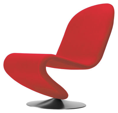 Furniture - Armchairs - 123 Low armchair - Panton 1973 - Web exclusivity by Verpan - Red - Brushed aluminium, Rubber foam, Wool