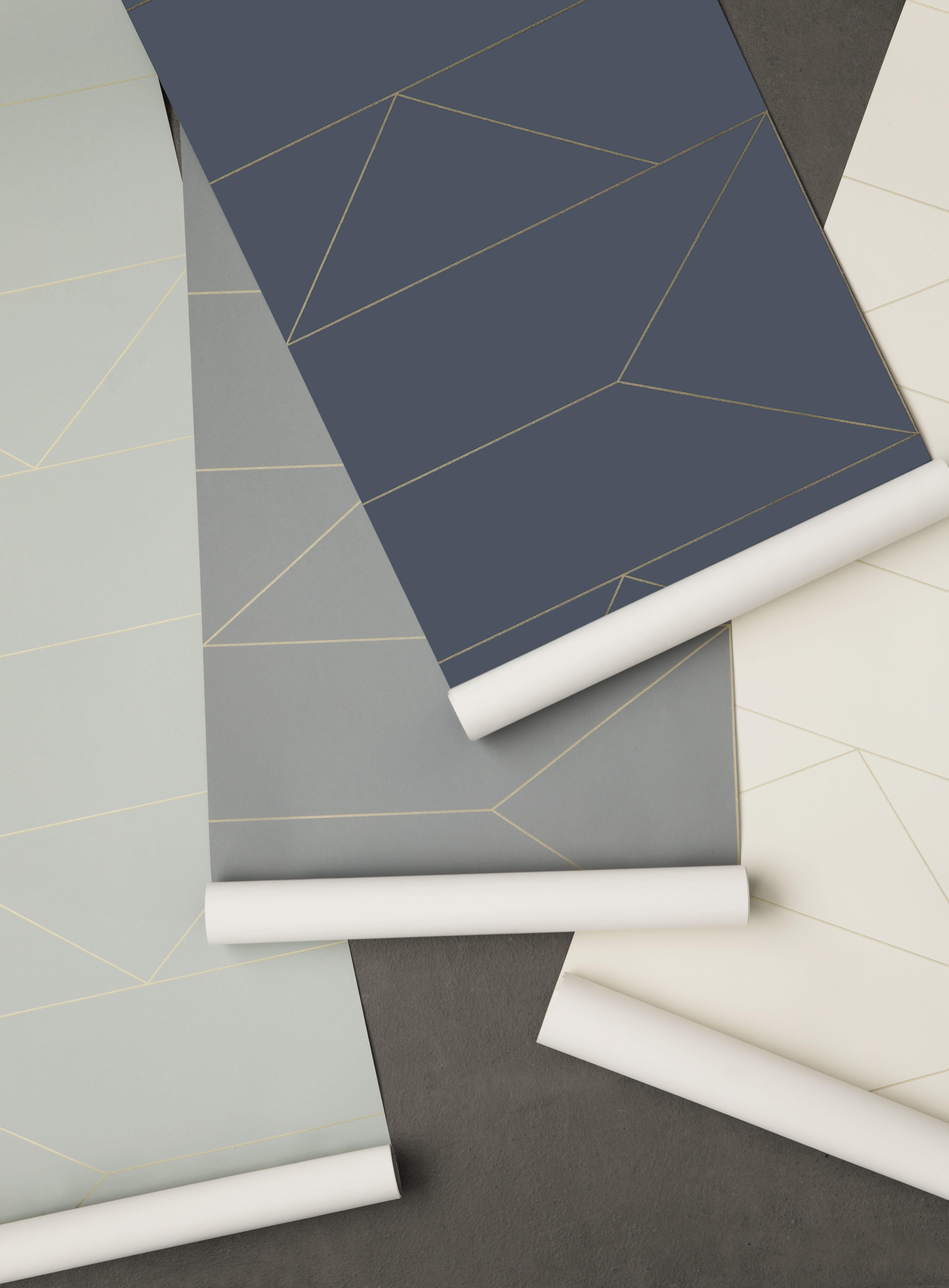 Papier Peint Ferm Living Lines L 53 Cm Bleu Or Made In Design