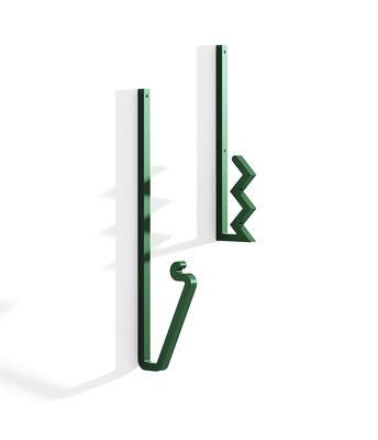 Mobilier - Portemanteaux, patères & portants - Patère Zag / Set de 2 - Acier - La Chance - Vert - Acier peint