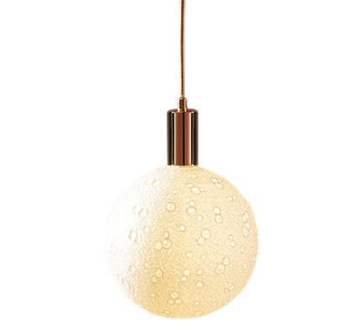 Lighting - Pendant Lighting - Moon Light Pendant - / Cable, E27 mount & ceiling rose set by Seletti - Cable & socket / Brass - Fabric, Lacquered metal