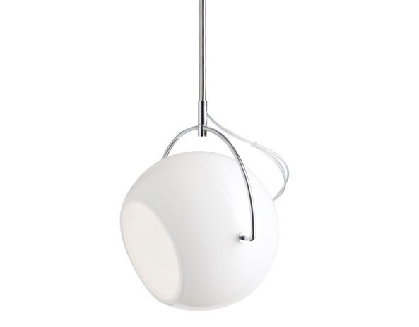 Leuchten - Pendelleuchten - Beluga Pendelleuchte Ø 14 cm - Fabbian - Weiß - Ø 14 cm - geblasenes Glas, verchromtes Metall