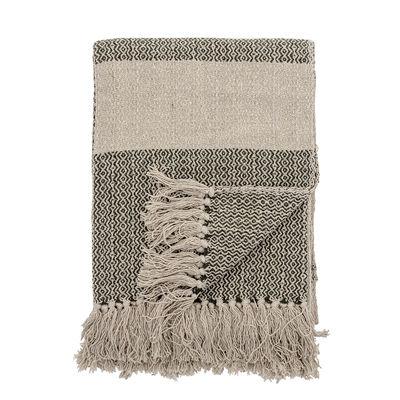 Déco - Textile - Plaid / 160 x 130 cm - Coton recyclé - Bloomingville - Vert foncé & beige - Coton recyclé