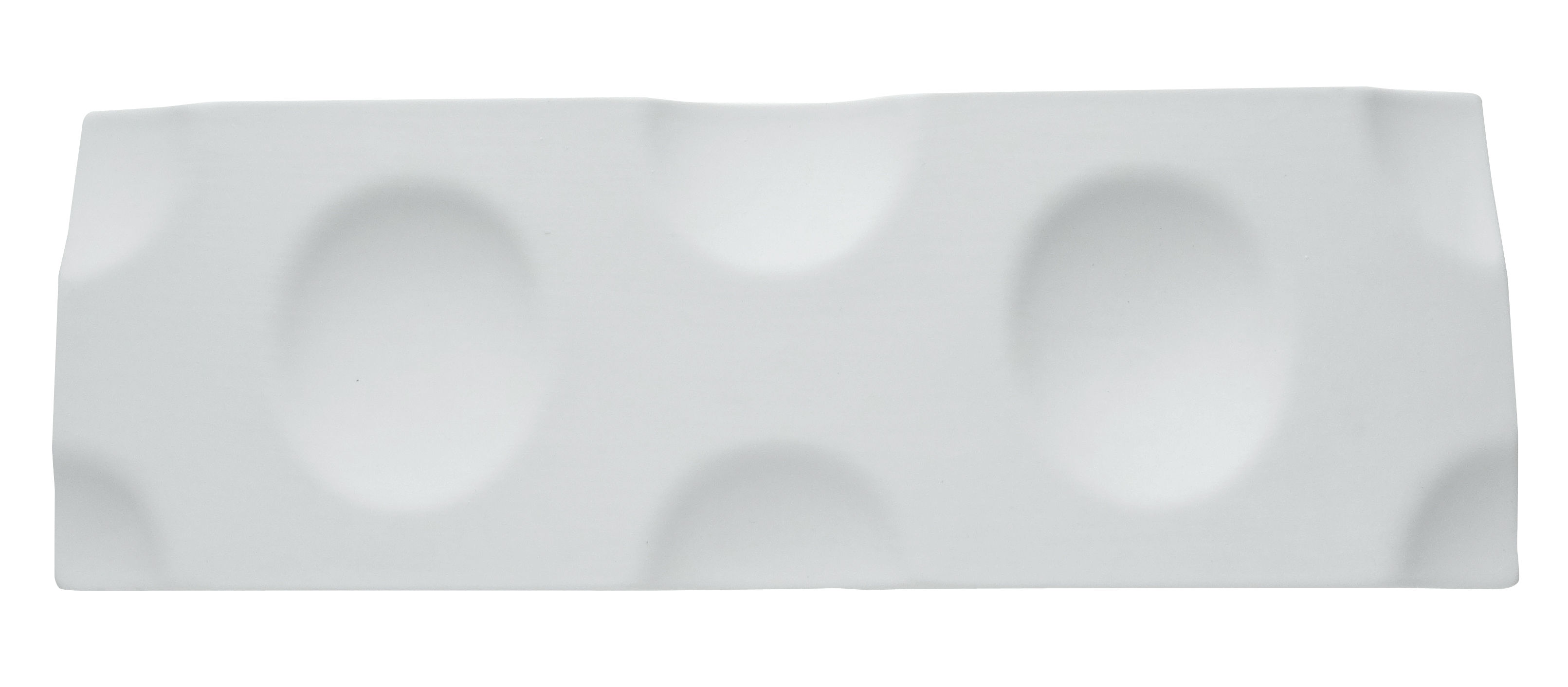 Arts de la table - Plateaux - Plateau Jo 2 / Support 2 coupelles  - 29 x 10 cm - cookplay - Blanc mat - Porcelaine mate