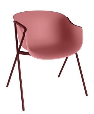 Image of Poltrona Bai / Guscio Plastica - 4 piedi Metallo - Ondarreta - Rosso/Marrone - Metallo/Materiale plastico