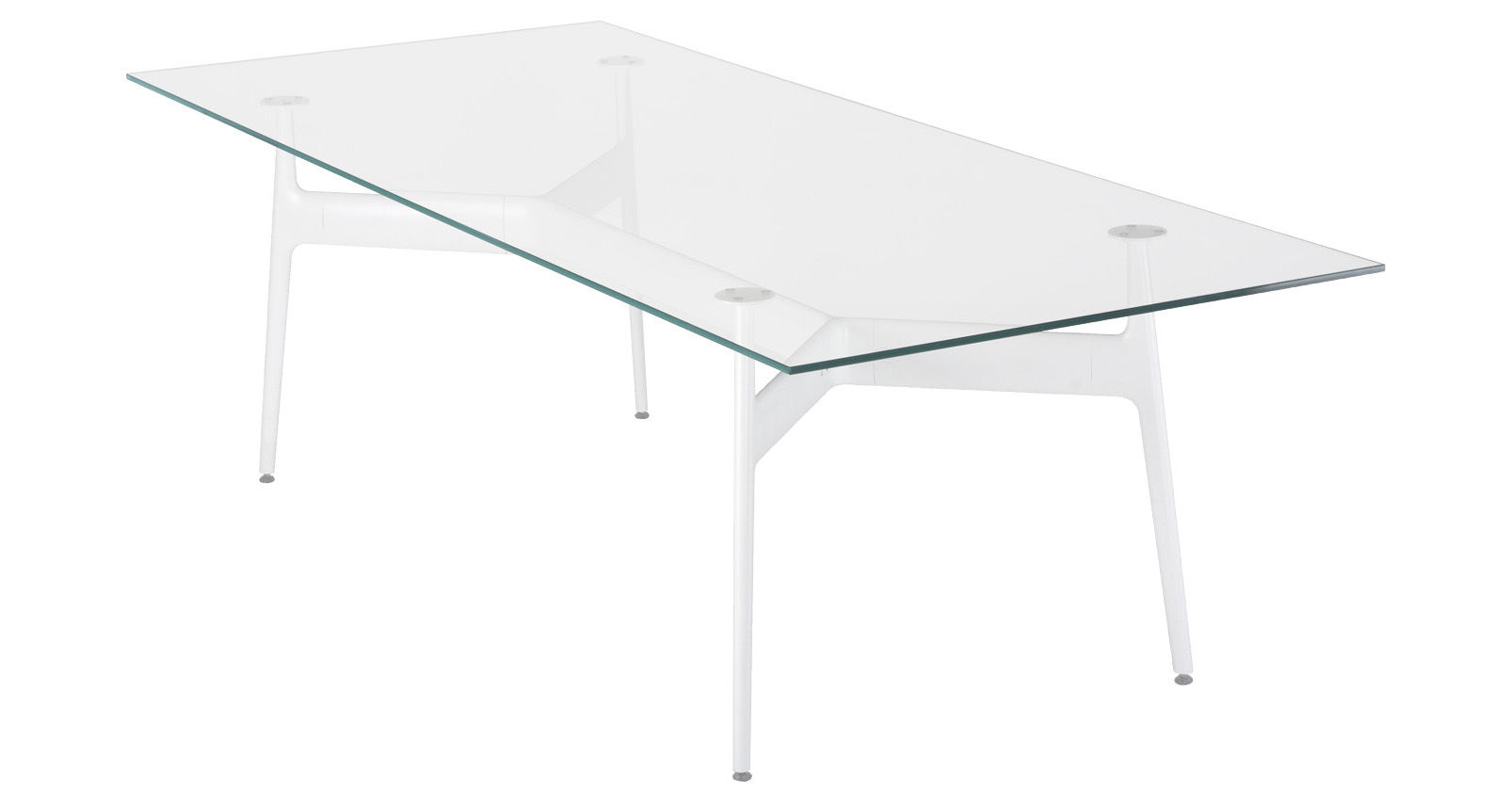 Back to school - Office furniture - Aracne Rectangular table - 190 x 100 cm - Glass top by Eumenes - White structure / Ultra-clear glass top - Aluminium, Glass