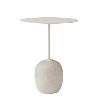Furniture - Coffee Tables - Lato LN8 Small table - / Marbre & métal - H 55 cm by &tradition - cream - Marble, Painted steel