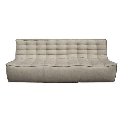 Möbel - Sofas - N701 Sofa / 3-Sitzer - l 210 cm / Stoff - Ethnicraft - Beige - Gewebe, Holz, Schaumstoff