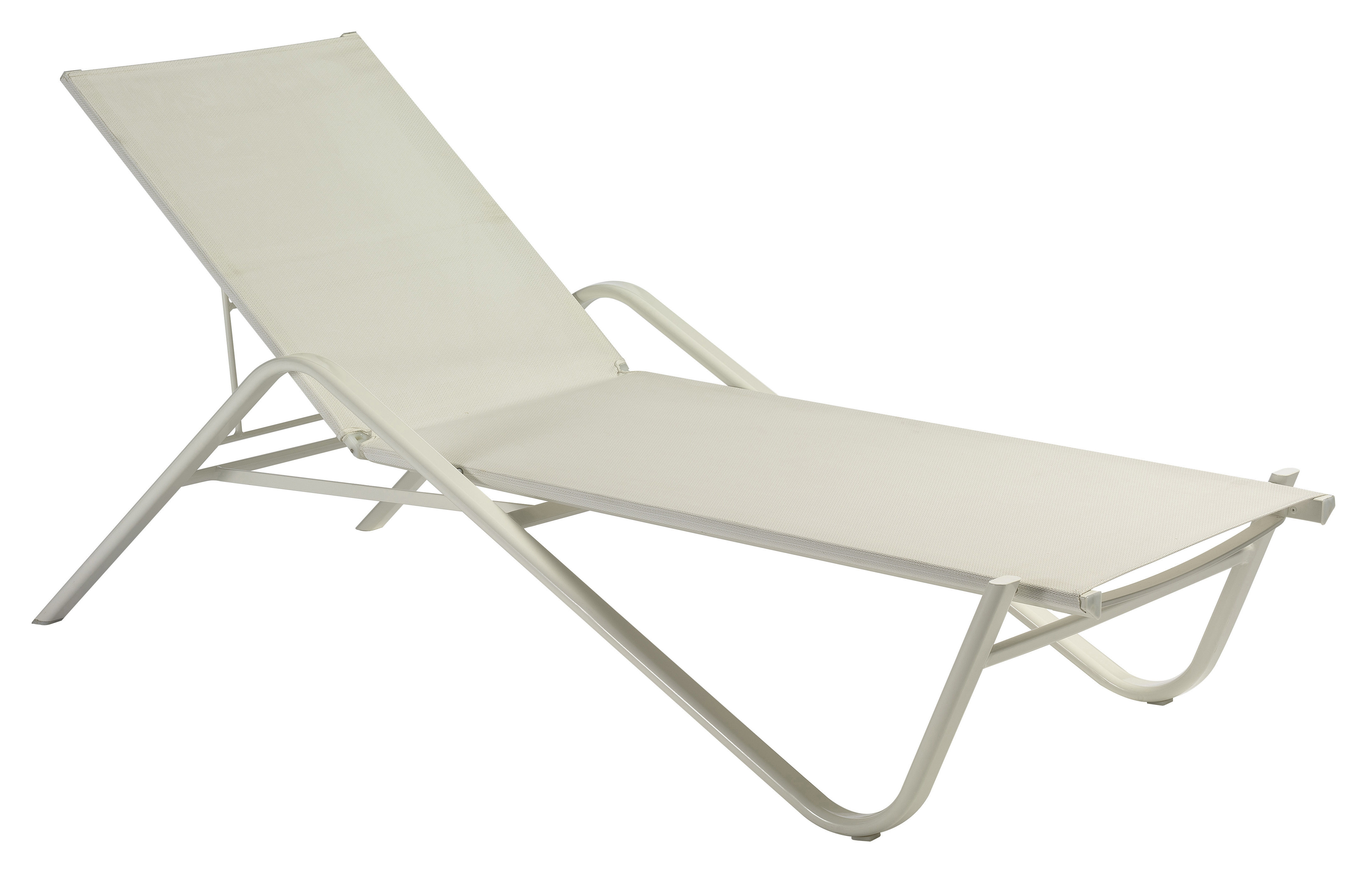 Outdoor - Liegen und Hängematten - Holly Sonnenliege - Emu - Bespannung weiß / Gestell weiß - Aluminium, Leinen