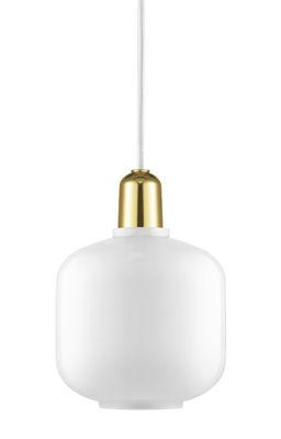 Suspension Amp Small / Ø 14 x H 17 cm - Verre & laiton - Normann Copenhagen blanc,laiton en verre