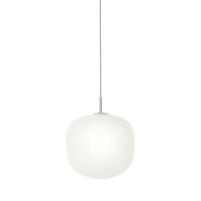 Luminaire - Suspensions - Suspension Rime / Ø 25 - Verre soufflé bouche - Muuto - Monture grise / Blanc - Aluminium verni, Verre soufflé bouche