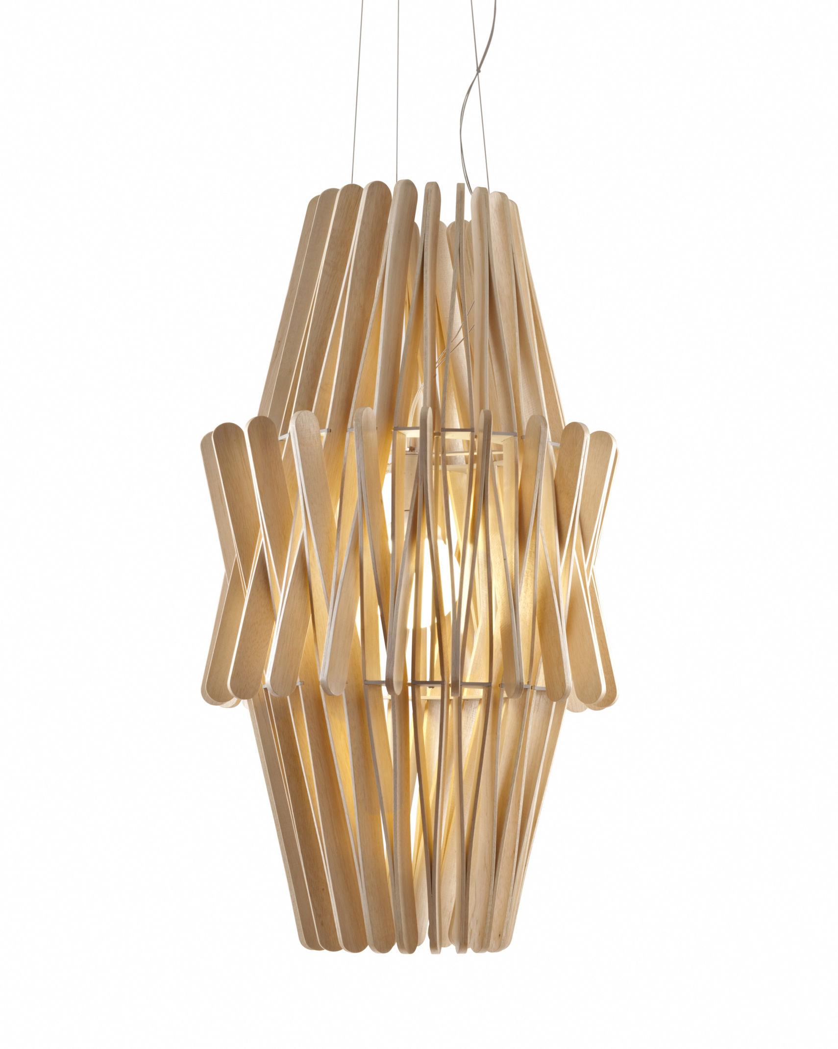 Luminaire - Suspensions - Suspension Stick 05 / Ø 50 x H 97 cm - Fabbian - Bois clair - Bois Ayous, Métal verni