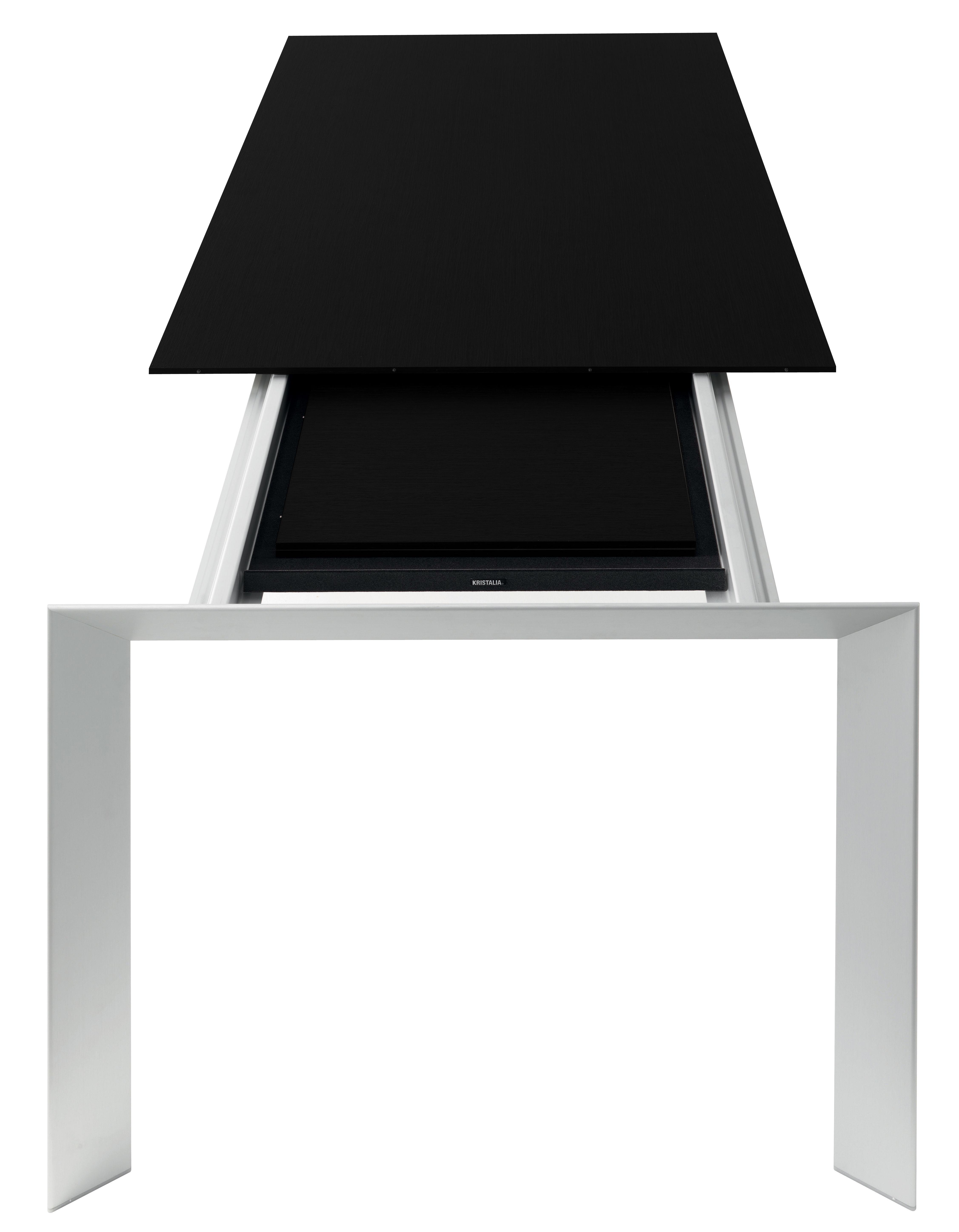 Rentrée 2011 UK - Bureau design - Table à rallonge Nori / L 139 à 214 cm - Kristalia - Noir / Pieds aluminium - Aluminium anodisé, Laminé stratifié