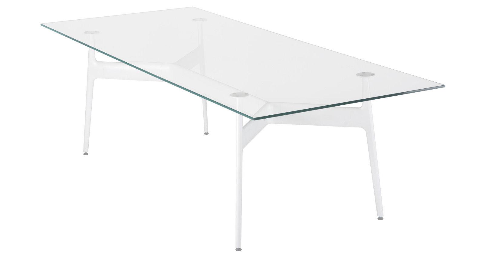 Natale - Vintage - Table rectangulaire Aracne / Verre - 190 x 100 cm - Eumenes - Structure blanche / Plateau cristal - Aluminium, Verre