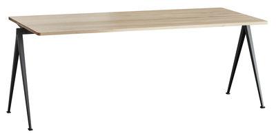 Mobilier - Bureaux - Table rectangulaire Pyramid n°01 / 200 x 75 cm - Rééditon 1959 - Hay - 200 x 75 cm / Chêne clair & noir - Acier laqué, Chêne