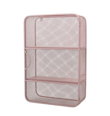 Furniture - Bookcases & Bookshelves - Wall storage - / Perforated metal - 40 x H 61 cm by Bloomingville - Pale pink - Lacquered perforated metal, Lacquered pine