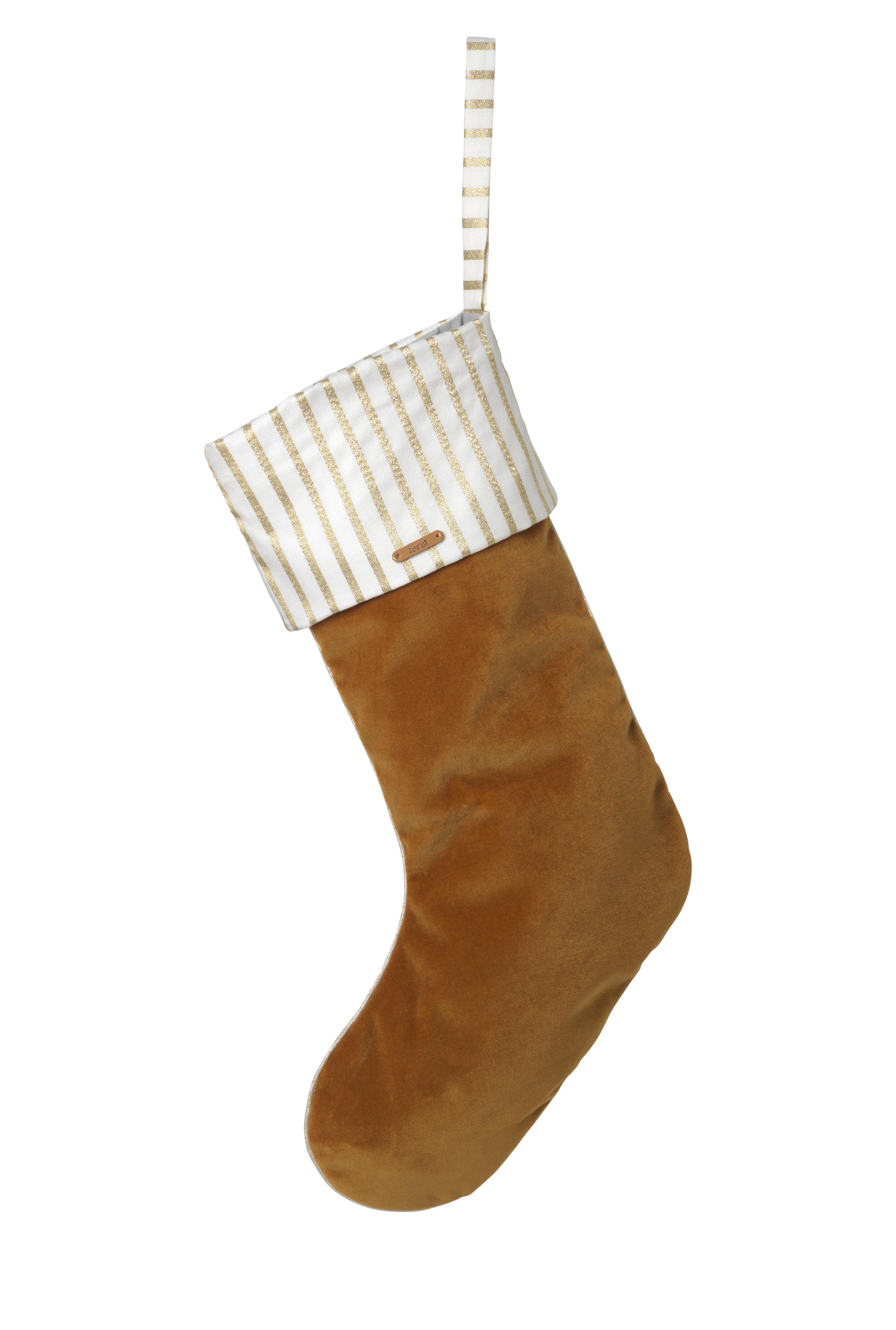 Dekoration - Dekorationsartikel - Stocking Weihnachts-Dekoration / Chaussette  à suspendre - Ferm Living - Senfgelb - Baumwolle, Velours