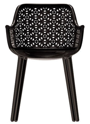Furniture - Chairs - Cyborg Elegant Armchair - Polycarbonate & wicker backrest by Magis - Glossy black seat and legs - Black wicker back - Polycarbonate, Tainted wicker