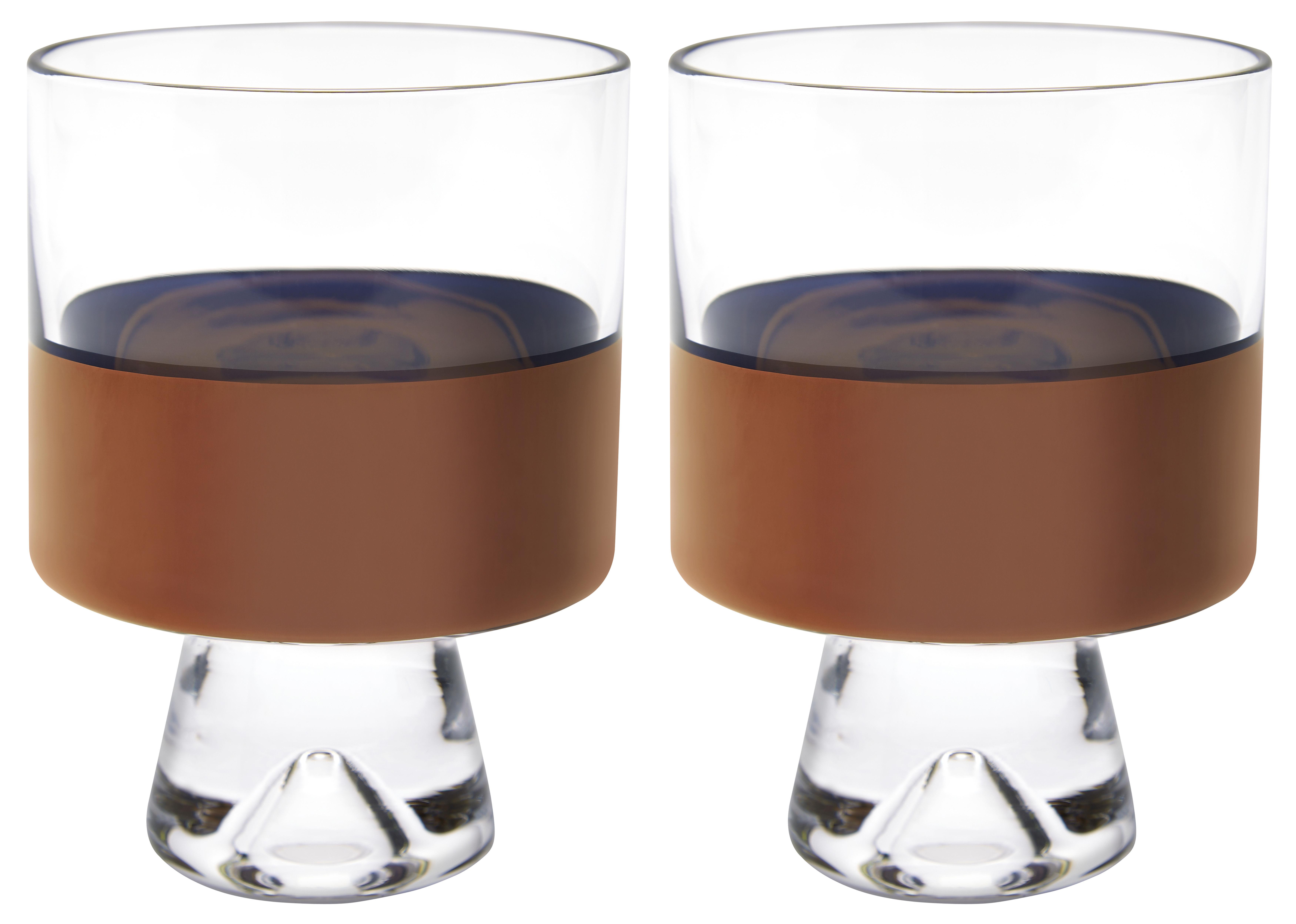 Tavola - Bicchieri  - Bicchiere Tank - / Basso - H 11 cm - Set da 2 di Tom Dixon - Trasparente / Rame - Vetro soffiato a bocca