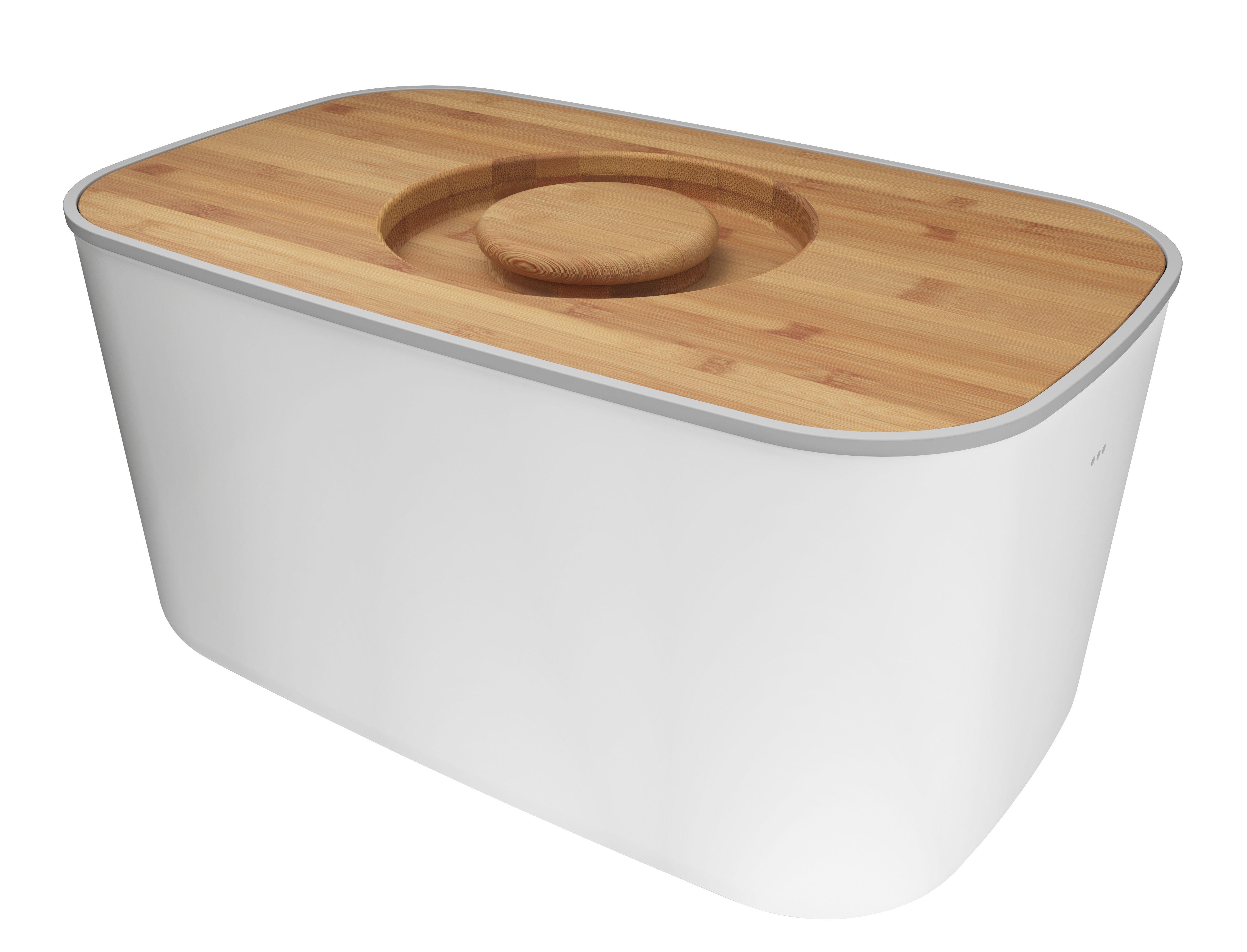 Küche - Küchenutensilien - Brotkasten Stahl / mit Schneidebrett als Deckel - Joseph Joseph - Weiß / Bambus - Bambus, rostfreier Stahl