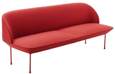 Canapé droit Oslo / L 200 cm - 3 places - Muuto rouge en tissu