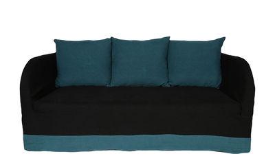 Canapé droit Riviera / 3 places - Lin - Maison Sarah Lavoine noir,bleu sarah en tissu