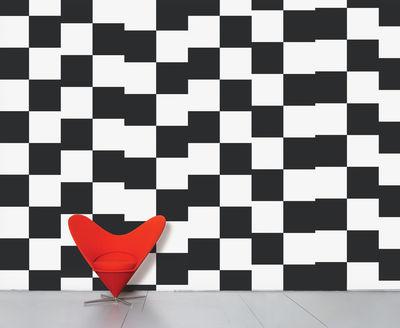 Interni - Sticker - Carta da parati panoramica WallpaperLab Damier - / Panoramica - 8 strisce - Edizione limitata di Domestic - Damier (Scacchiera) / Nero & bianco - Tessuto non tessuto