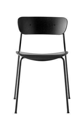Chaise empilable Pavilion AV1 / Bois laqué - &tradition noir,laiton en bois