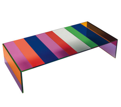 Furniture - Coffee Tables - The Dark Side of the Moon Coffee table - 155 x 55 cm by Glas Italia - Multicoloured glass - Cristal