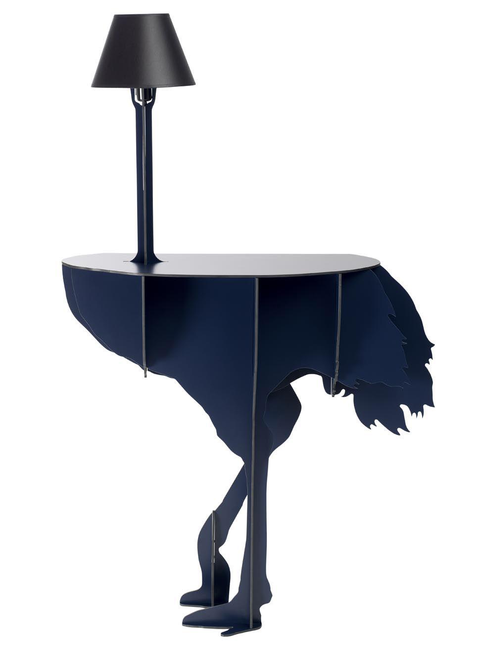 Mobilier - Mobilier Kids - Console Diva Lucia / Lampe intégrée - Ibride - Bleu nuit / Abat-jour noir - Nylon, Stratifié compact