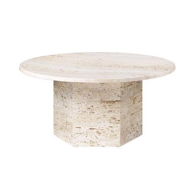 Möbel - Couchtische - Epic Couchtisch / Travertin - Ø 80 cm - Gubi - Neutrales Weiß - Travertin