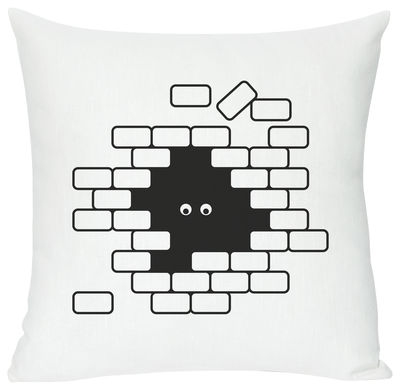 Decoration - Children's Home Accessories - I see U U see me Cushion - Screen printed cushion made of linen & cotton by Domestic - I see U U see me - White & black - Cotton, Linen