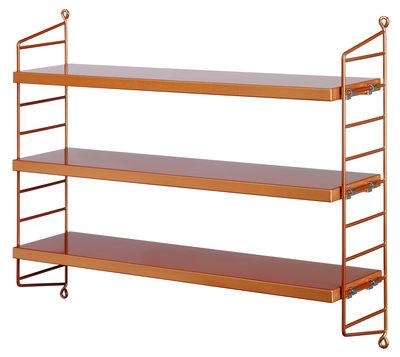 Mobilier - Etagères & bibliothèques - Etagère String® Pocket / L 60 x H 50 cm - String Furniture - Cuivre - Acier laqué, MDF peint